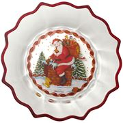 Christmas Glass Accessories Bowl Santa on rooftop
